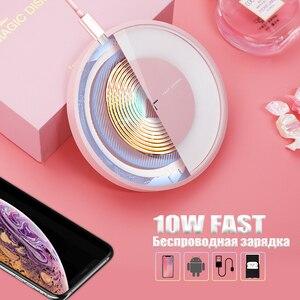Image 2 - Беспроводное зарядное устройство 10 Вт для Samsung Note 10/S10/S10 Plus/S9, быстрая Беспроводная зарядная площадка, сертификат Qi, для iPhone XS/8 Mi 9, зарядное устройство