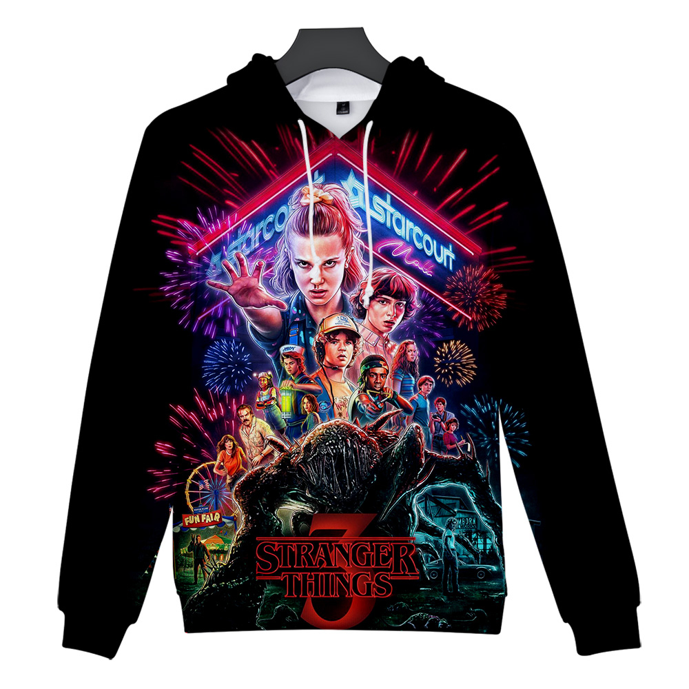 2019 American Horror TV Series Stranger Things New 3D Print Hooded Sweatshirt Men/Women Casual Hip Hop Harajuku Hooded Clothes