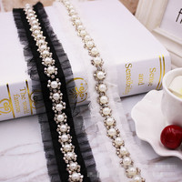 5.8ヤードビーズホワイト人工真珠トリミングレースリボン用ウェディングドレスdiy手作り縫製衣服アクセサリーレーストリ