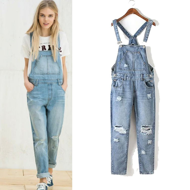 3d619ed4328 Women Fashion Hole Ripped Denim Dungaree Jumpsuit with Adjustable Straps  Straight Overalls Light Blue CLJS016