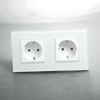 Drop Shipping Supported EU Double Power Socket White Crystal Glass Panel 16A EU Standard Wall Outlet