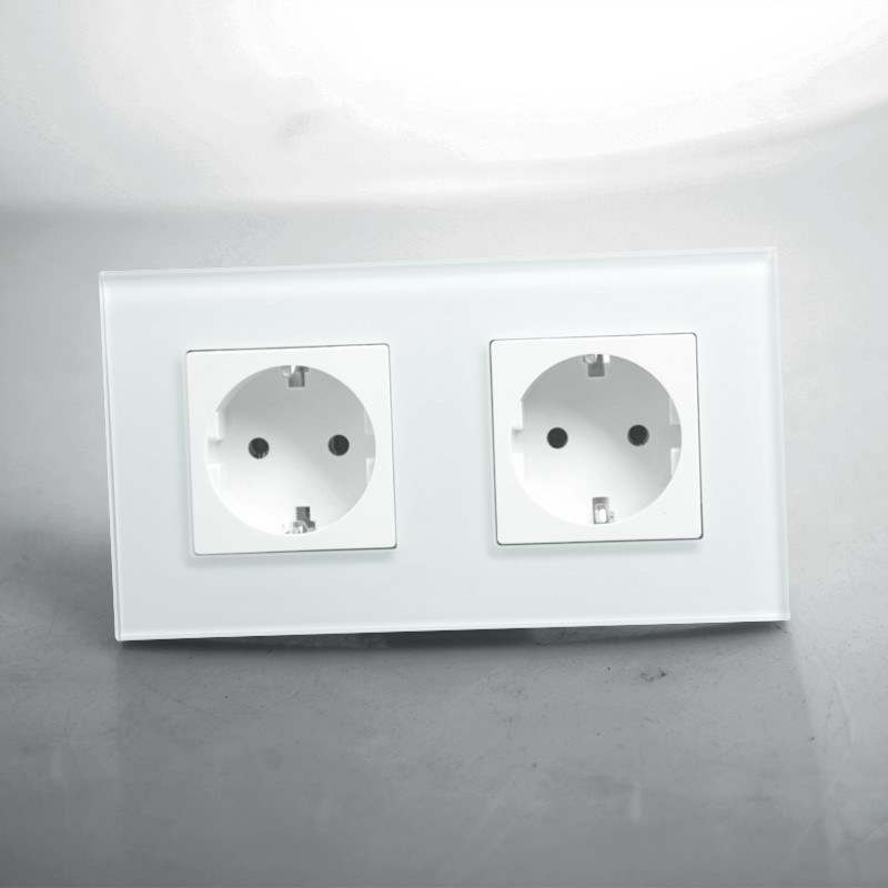 Free shipping,EU Double Power Socket Schuko,White Crystal Glass Panel, 16A EU Standard Wall Outlet KP002EU-WFree shipping,EU Double Power Socket Schuko,White Crystal Glass Panel, 16A EU Standard Wall Outlet KP002EU-W