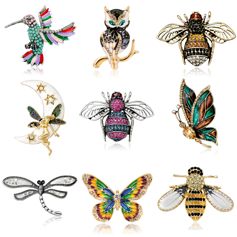 Crystal Brooch Pins For Women Dragonfly Butterfly Bee Brooches Jewelry Fashion Wedding Party Bijoux Best Gift