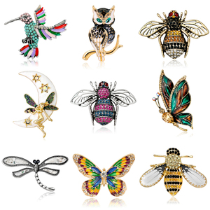 Crystal Brooch Pins For Women Dragonfly Butterfly Bee Brooches Jewelry Fashion Wedding Party Bijoux Best Gift(China)
