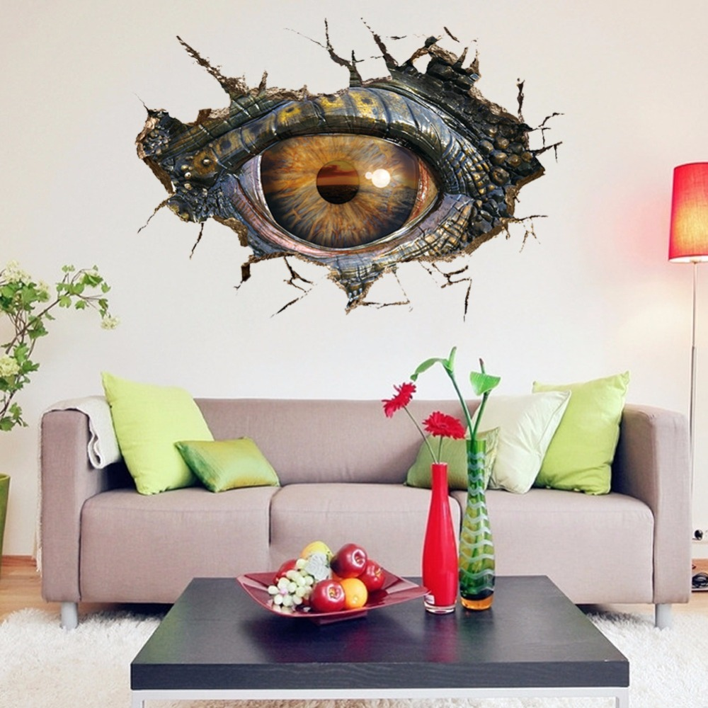 3D Dinosaur Eyes Wallpaper Wall Stickers Personalized Creative Living Room Bedroom TV Background Decorative Waterproof Mural