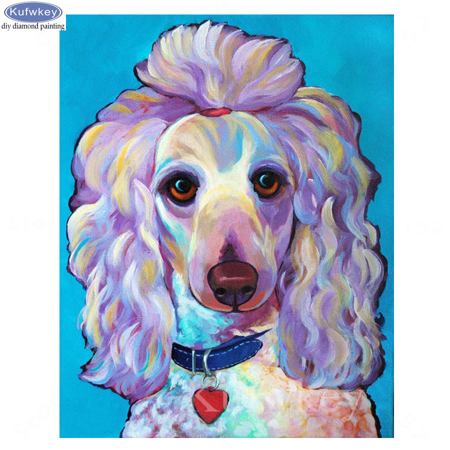 Art,Crafts & Sewing,5d,DIY Diamond Painting Cross Stitch poodle dog Needlework Square Mosaic Diamond Embroidery Home Decoration