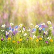 Primavera Flores Grama Verde Brilho Bokeh Laeacco Cena Backdrops Para Estúdio de Fotografia Fotografia Fundos Fotográficos Personalizados