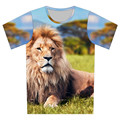 Children Short Sleeve T-Shirts for Kids Clothing Tees Baby Boy Girl Cartoon Tops O Neck 3D T shirt Print Animal Lion Galaxy Moon