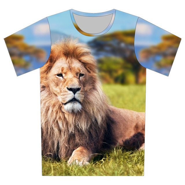 Crianças t-shirt de manga curta para roupa dos miúdos camisetas Baby Boy menina dos desenhos animados cobrem O Neck 3D T camisa Animal Print Lion Galaxy lua