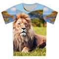 Infantiles manga corta camisetas para los niños ropa de la historieta del bebé Tops O cuello T camisa impresión 3D Animal del león galaxia luna