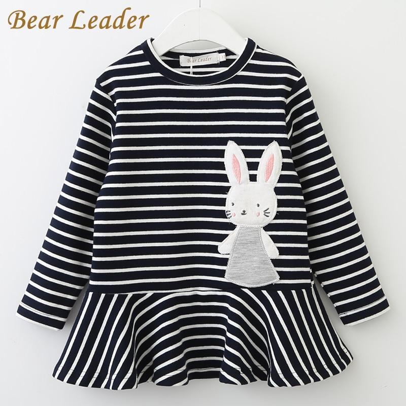 Bear Leader Girls Dress 2018 Nyårsmärke Tjejkläder Långärmad kaninkanin Snörremönster Design Tjejer Barnkläder