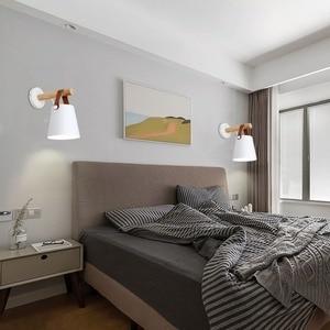 Image 4 - LED Wall Light Wood Wall Lamp Bed Bedside Light Night Lights Modern Nordic Lampshade Home Decor White & Black Belt E27 85 265V