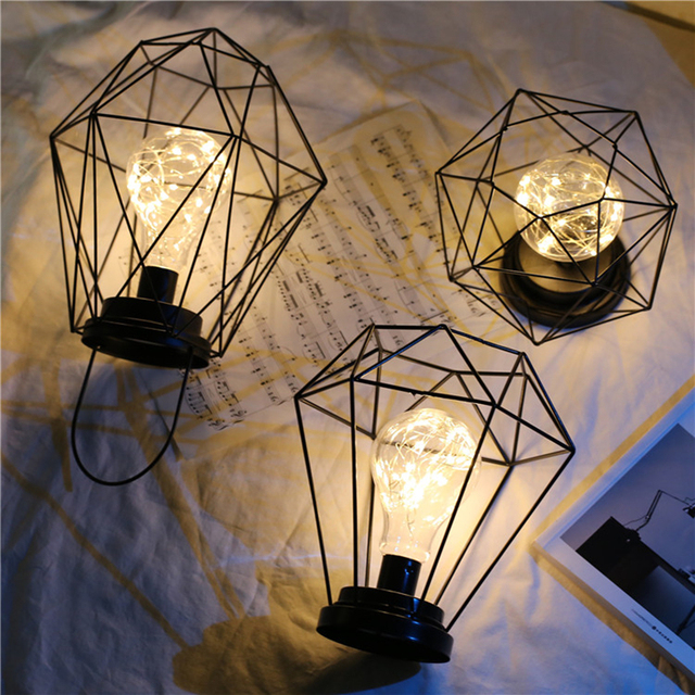 Battery power LED Iron lamp lantern with copper wire led bulb table lamp decorative light night lamp indoor lighting