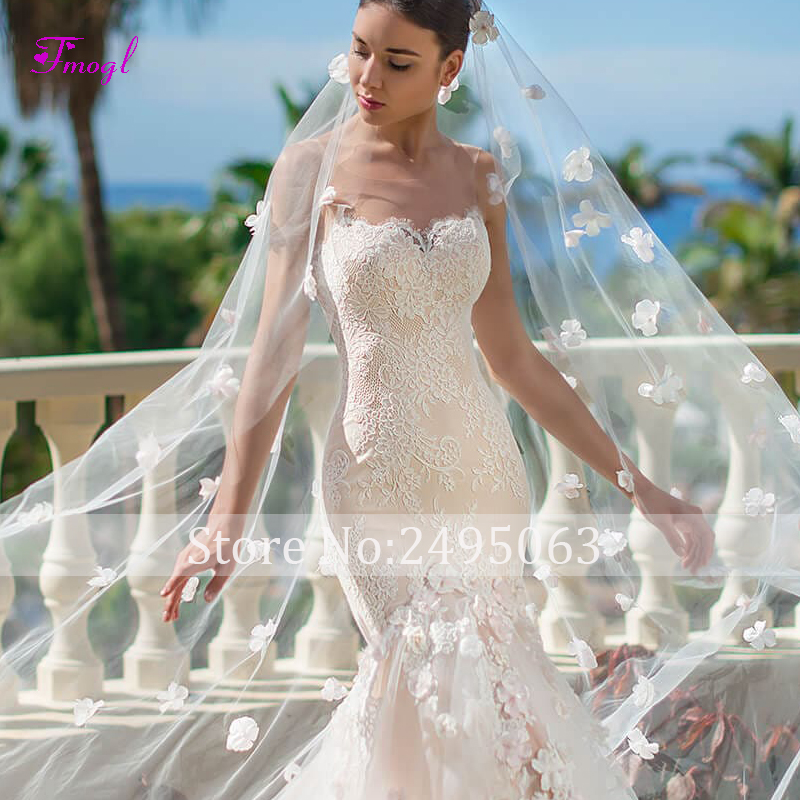 Fmogl charmante bretelles Appliques robe de mariée sirène 2019 fleurs gracieuses dentelle princesse trompette robe de mariée robe de Noiva - 3