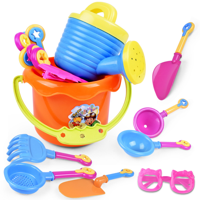 Beach Toys 9-piece Plastic Beach Sand Toys For Baby Child Bucket Spade Shovel Rake Water Game Playing For Kid Play And Fun Clear