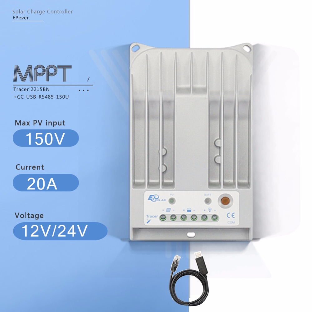 Tracer 2215BN 20A MPPT Solar Panel Battery Charge Controller 12V 24V Auto Solar Controller PV Regulator with RS485 USB Cable 30a mppt solar charge controller regulator tracer7810bp high efficiecny 12v 24v auto work with pc usb communication cable