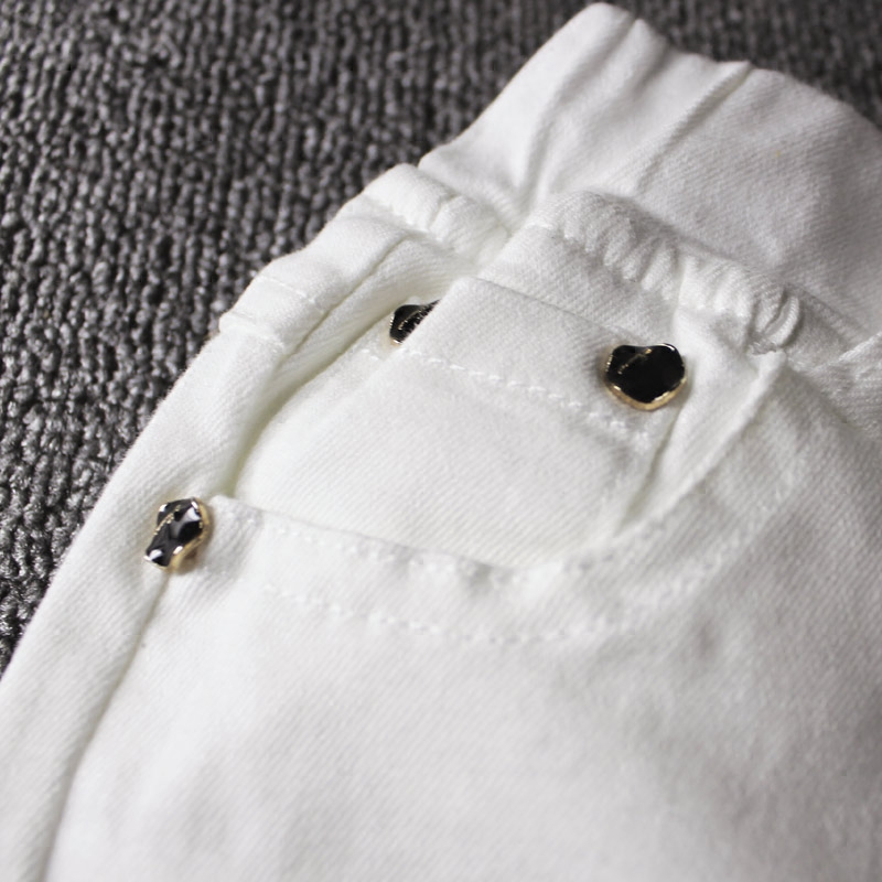 Image 4 - 2019children's jeans boy white casual pants in the big children spring and autumn girls Slim pants pants baby holes-in Pants from Mother & Kids