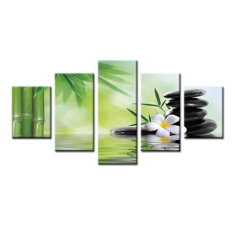 5 Panel Modern Printed Poster series Painting Picture Canvas Art Stone bamboo flower series Painting for Living Room