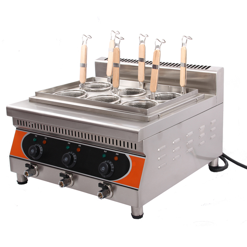 6-Basket Commercial Stainless Steel  Electric Noodle Cooker/ Pasta Cooker/ Pasta Cooking Machine vosoco commercial electric pasta cooker electric noodle machine 2000w stainless steel pasta boiler cooker electric heating furna