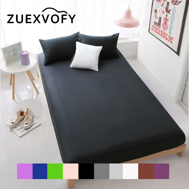 100% Cotton Luxury Solid Fitted Sheet Bedsheet Bed Sheet With Elastic Band Linens Bedding Sheets Mattress Cover 160x200cm Black