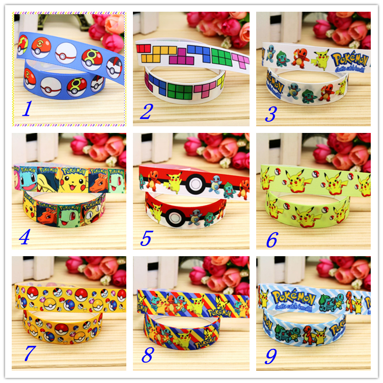 7/8 Free shipping game poke printed grosgrain ribbon hairbow headwear party decoration d ...