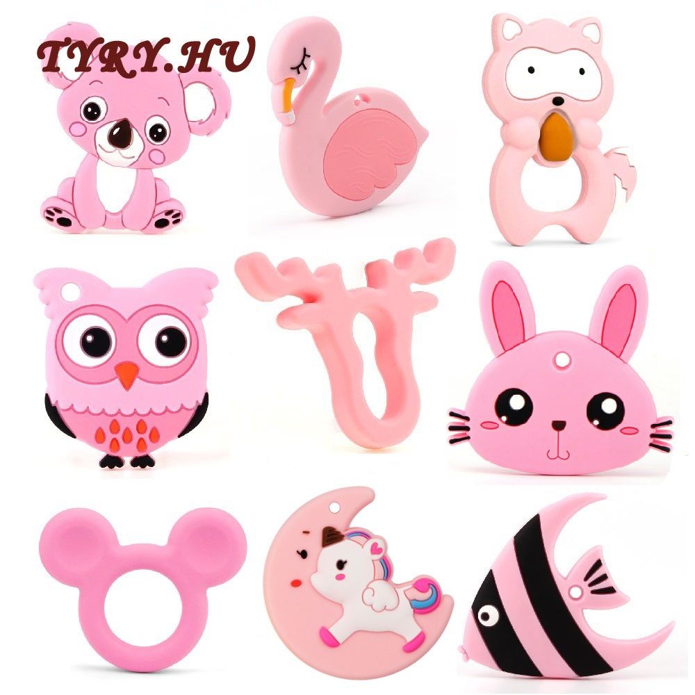 TYRY.HU 1pc Silicone Animal Series Teether Silicone Beads Pendant Accessories Unicorn Raccoon Flamingos Owl Fox Tortoise Teether