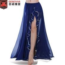 Women Belly Dance chiffon skirt Professional Belly Dance Costume Waves Skirt Dress with Slit Carnival Bollywood Colour 10 цена в Москве и Питере