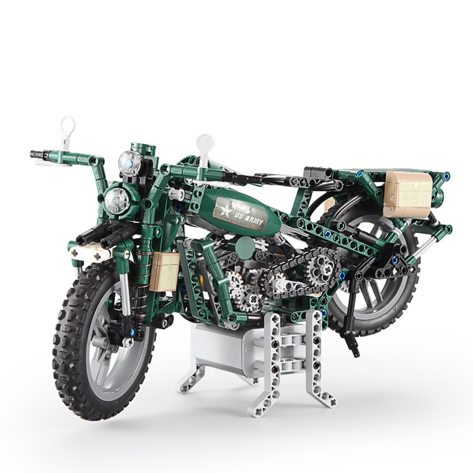 Legoings Motorcycle World War II Army Military Army Green