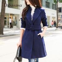 Dabuwawa темно синие теплые зимние рюшами Пальто Винтаж тренчи шерсть длинное пальто Manteau Femme