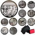 10 Pcs Stamp+Stamper+Scraper Stamping Kits Round Metal Plates DIY Nail Tools
