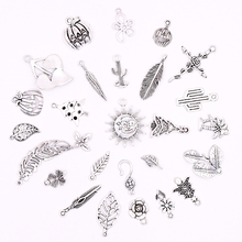 All Tibetan Silver Flower Leaf Tree Pendants Charms for Jewelry Making DIY Plants Bracelets Crafts