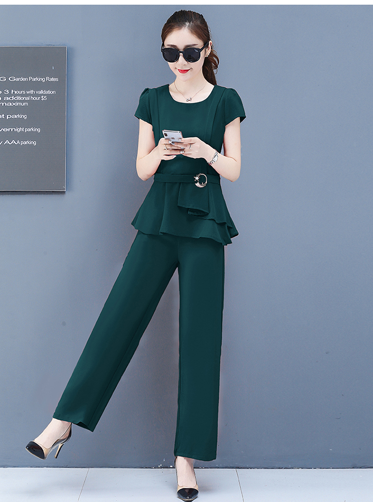 2019 Summer Chiffon 2 Two Piece Sets Outfits Women Plus Size Short Sleeve Tunics Tops And Pants Suits Office Elegant Korean Sets 60