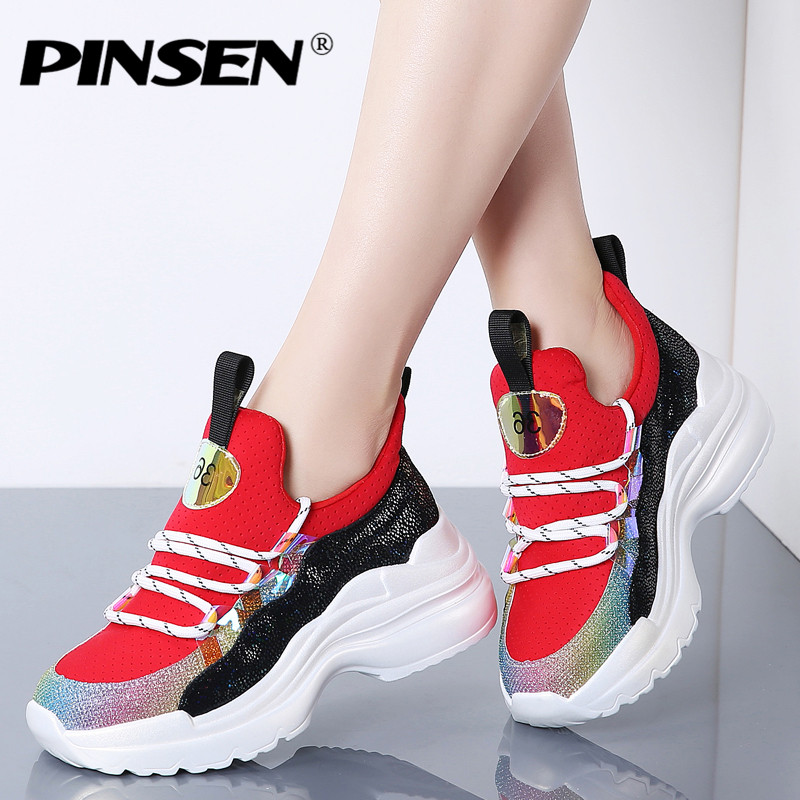 PINSEN 2019 Spring Women Flats Shoes Chunky Sneakers High Quality Lace up Basket Femme Ladies Wedges