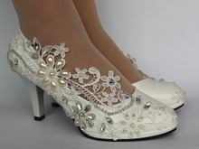 цены Lace white ivory crystal Wedding shoes Bridal low high heel pump size 5/10