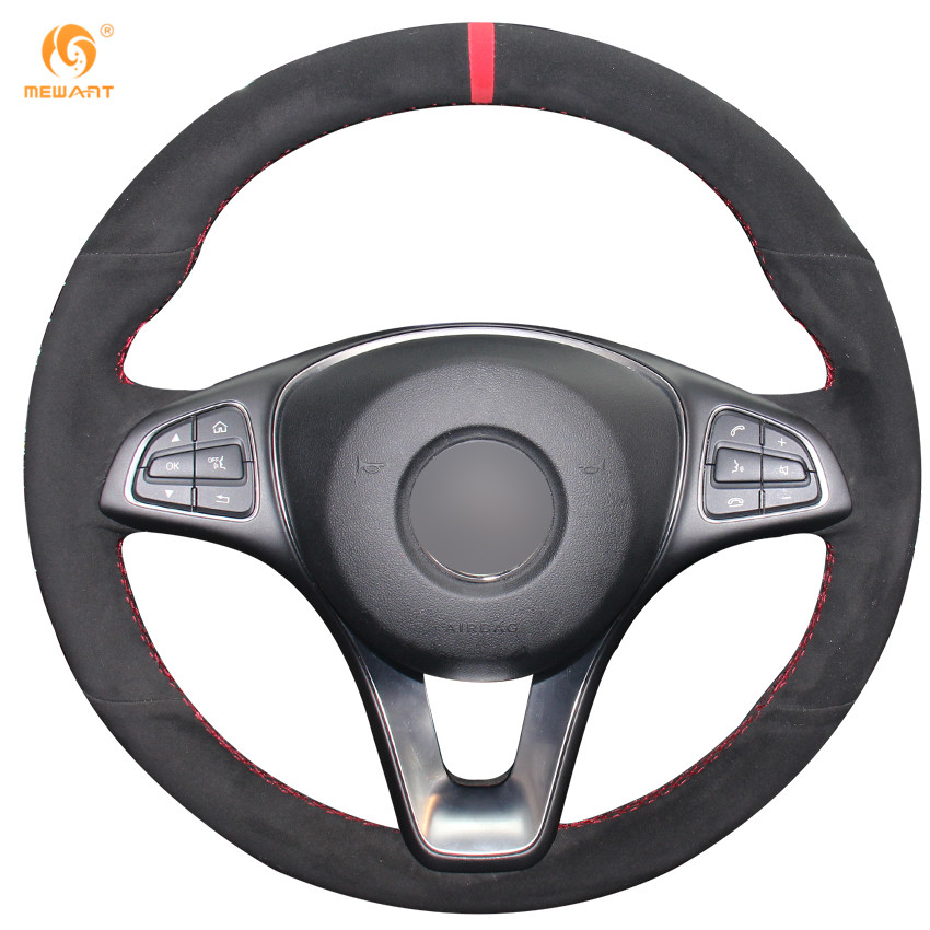 Buy mewant black suede red marker car for Mercedes benz steering wheel cover