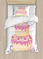 Duvet Cover Set, Pastel Colored Birthday Party Cake with Candles and Candies Celebration Image, Decorative 4 Piece Bedding Set