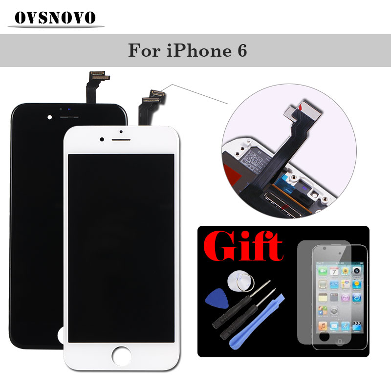 Black White LCD Display Touch Screen for iPhone 6 LCDS Panel Assembly Digitizer Replacement AAAA With Tempered Glass + ToolsBlack White LCD Display Touch Screen for iPhone 6 LCDS Panel Assembly Digitizer Replacement AAAA With Tempered Glass + Tools