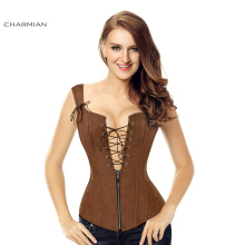 Charmian Faux Leather / Brown Zipper Steampunk Corset