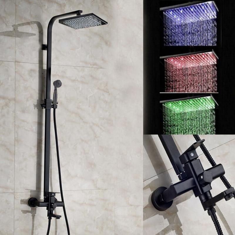 LED Square Rain Shower Head Tub Spout Valve Mixer Tap Oil