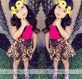 JQ-108 Розничная 2017 новые прибытия summer girls dress shirt + leopard юбки 2 шт. детская одежда набор детей dress set free доставка