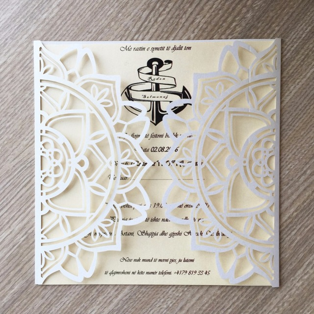 30pcs Laser Cut Pearl Paper Modern Design Wedding Invitations Cards