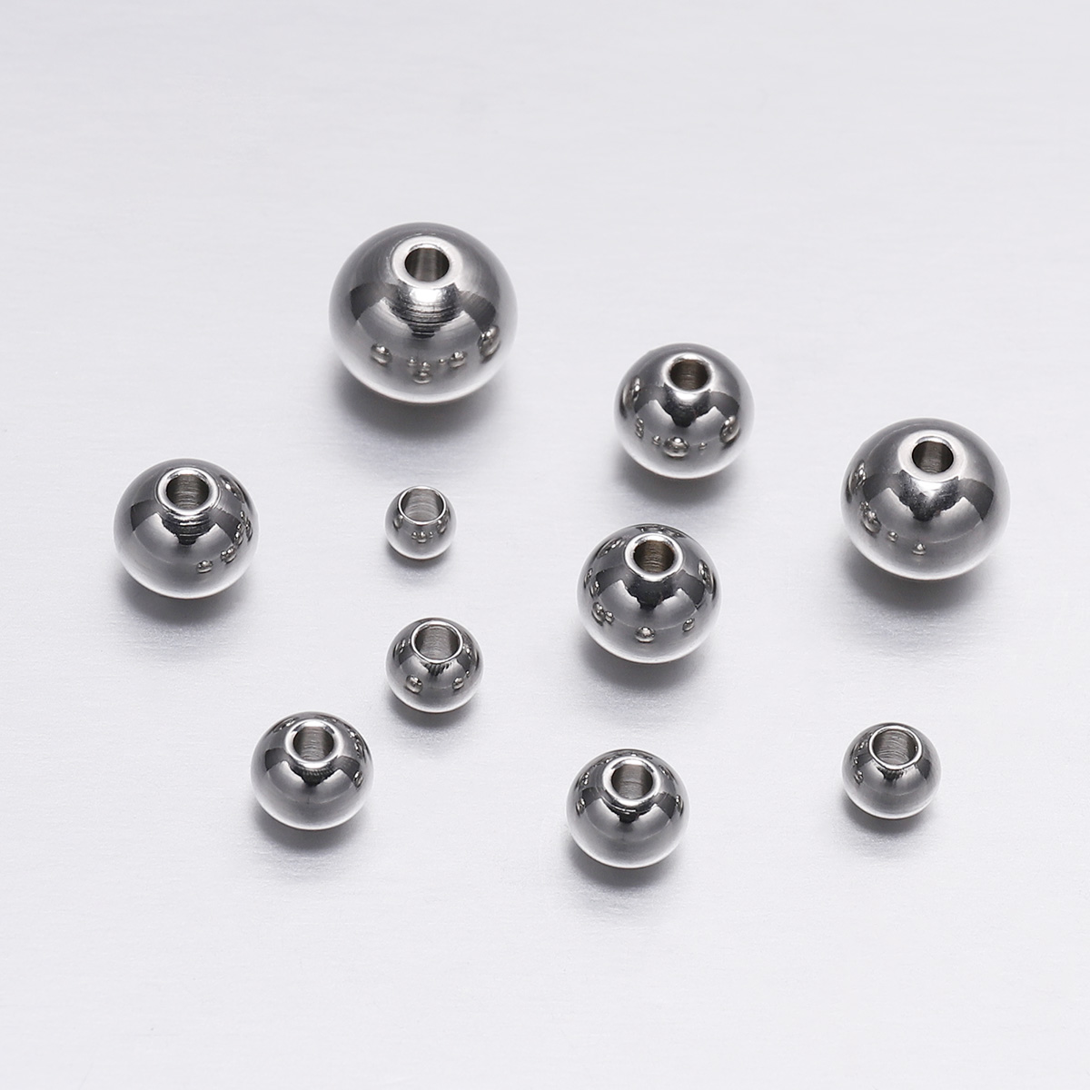 30-100pcs 3-8mm Stainless Steel Loose Spacer Beads Round Seed Big Hole Bead Findings For Jewelry Making DIY Supplies Accessories