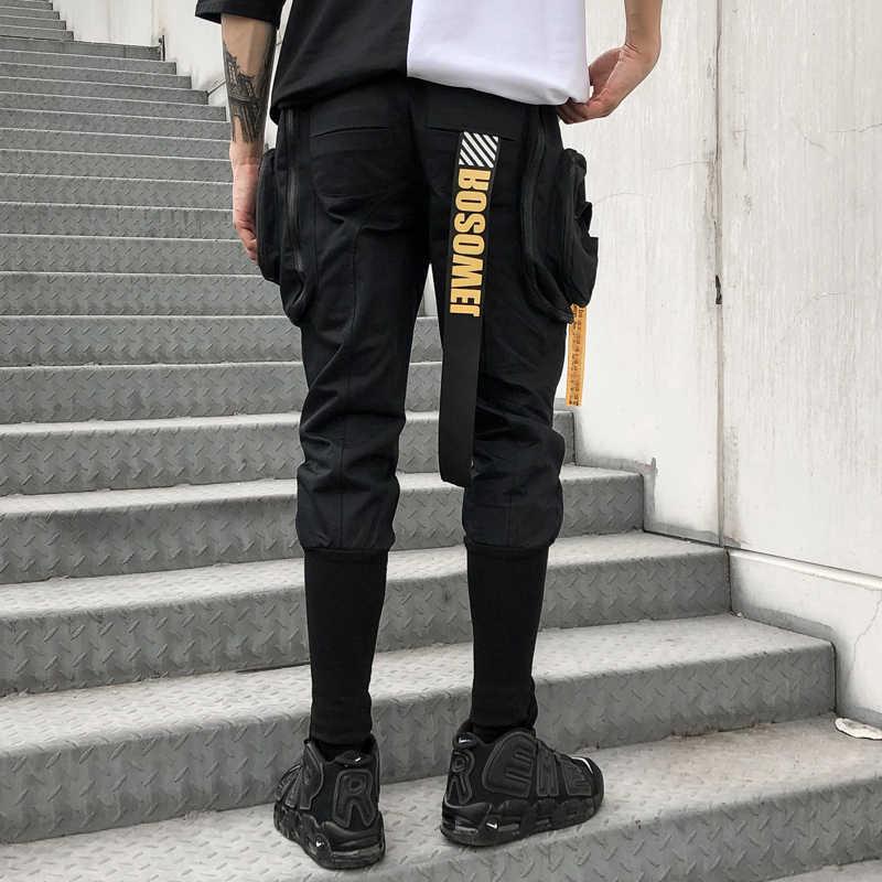Spring Summer Hip Hop Joggers Cargo Harem Pants Men Long Big Pockets Zippers White Black Trousers