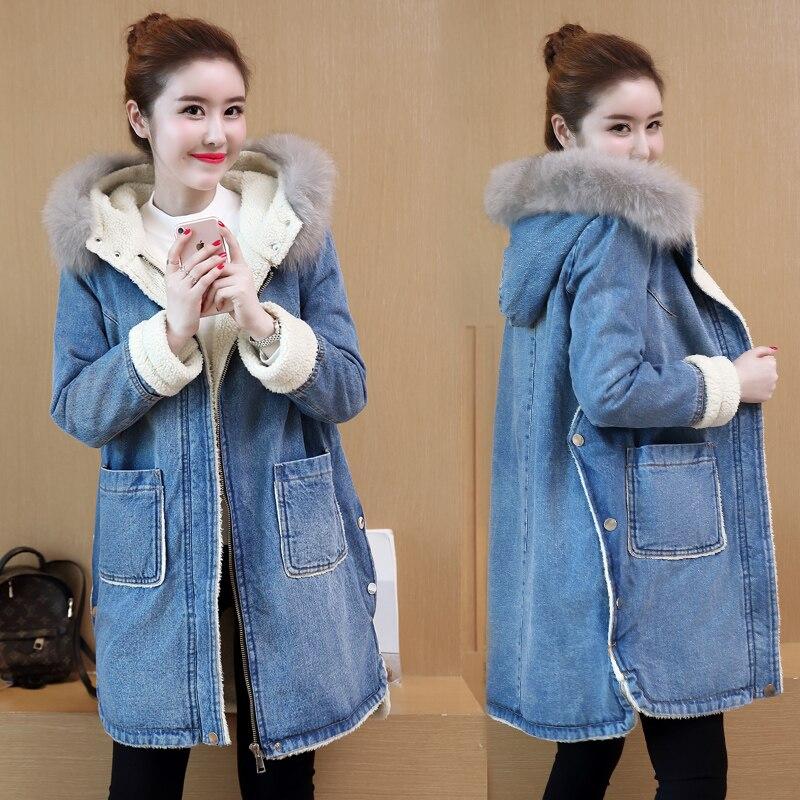 Agneaux Hoodied Velours Laine Long Noir Jean Style Manteau Hiver Denim Femmes Épais Tranchée Coréenne Coton 4v8qHwR8