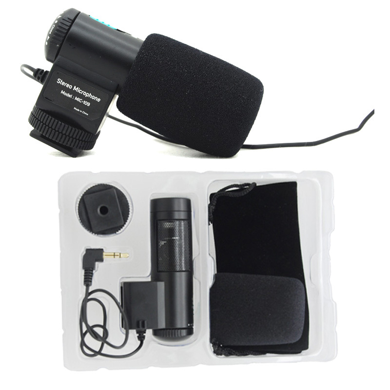 Mic-109, New Mini MIC-109 External Stereo Microphone for 3.5mm MIC for Nikon Canon All brand DSLR Camera Camcorder цены онлайн