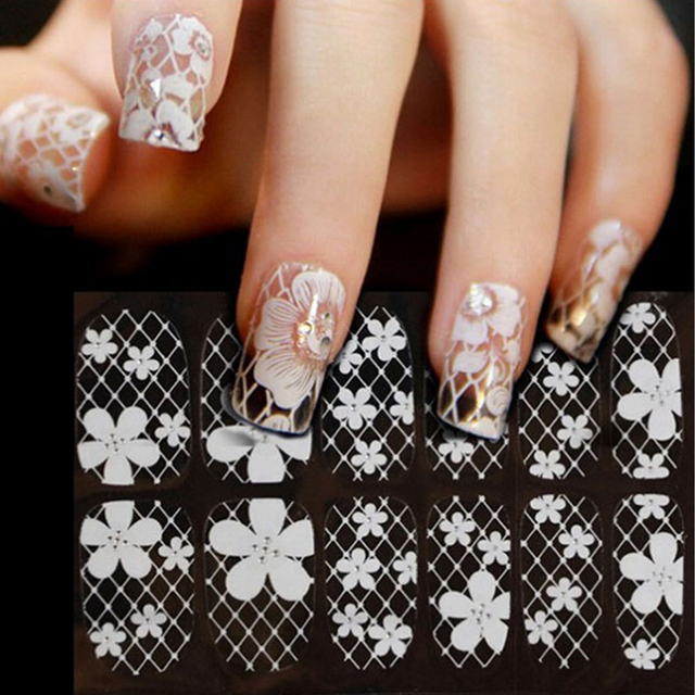 Aliexpress buy 3d white transparent lace nail rhinestone 3d white transparent lace nail rhinestone nail art stickers16designs3sheetslot sexy prinsesfo Choice Image