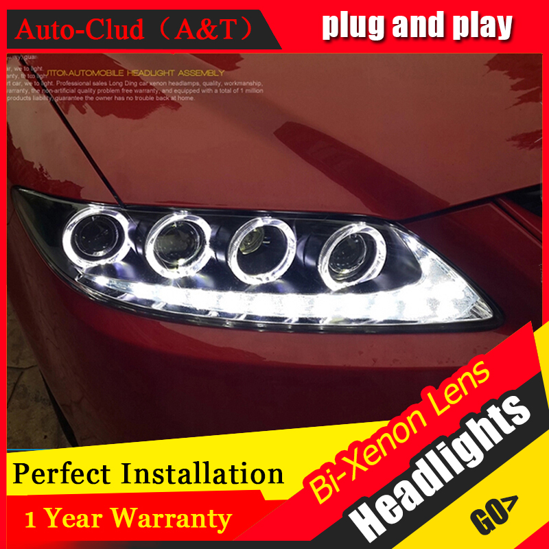 Auto Clud Style LED Head Lamp for Mazda 6 led headlights for 2006-2013 mazda6 signal angel eye drl H7 hid Bi-Xenon Lens low beam