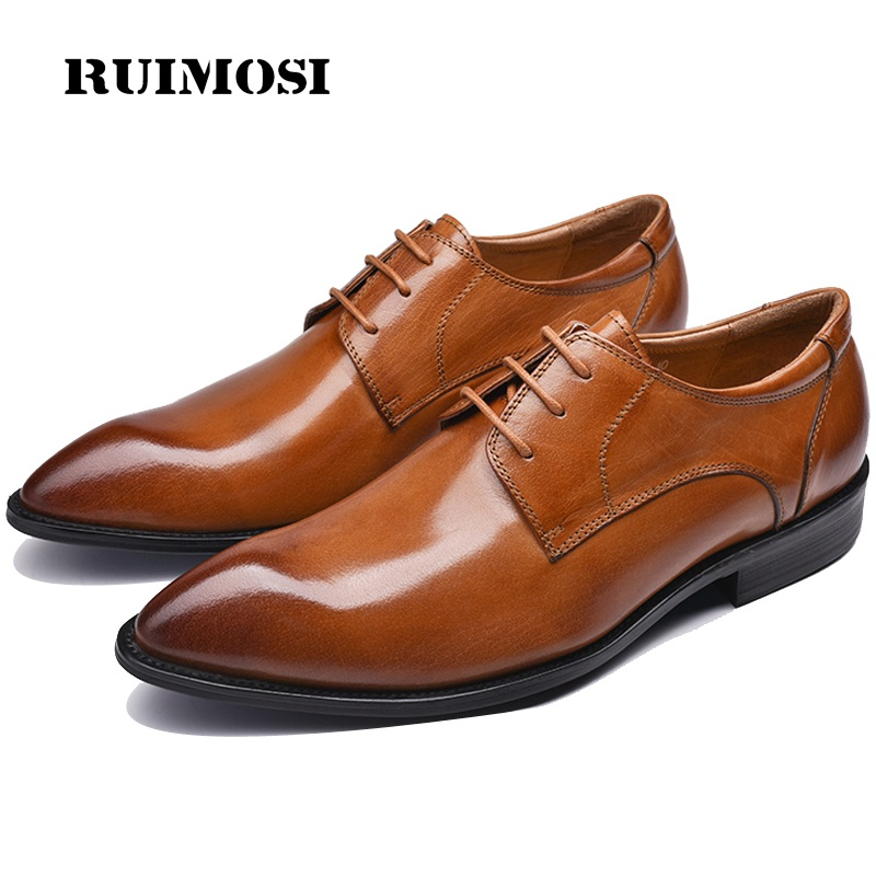 RUIMOSI Luxury Italian Man Formal Dress Business Shoes Genuine Leather Wedding Oxfords Pointed Toe Derby Men's Party Flats HJ66