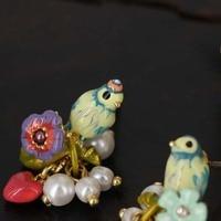 Fashion Long Pearl Necklace Heart Earrings European And American Ear Temperament Bird Earrings Jewelry Ball Decoration