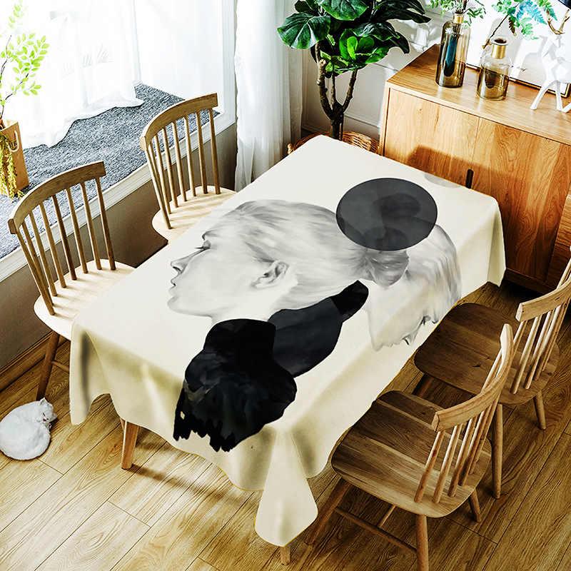 Прямоугольная скатерть из полиэстера Водонепроницаемая масляная скатерть для стола с цветочным узором белая скатерть многоразмерные скатерти
